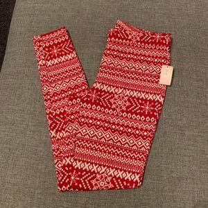 Red and cream leggings